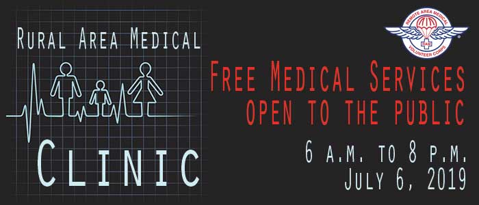 image promoting the Rural Area Medical Clinic with Free Medical Services open to the public, 6 a.m. to 8 p.m., July 6, 2019